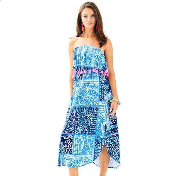 Lilly Pulitzer Meridian Blue Tassel Midi Dress
